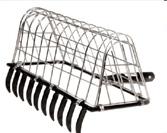 Long handled rake with basket